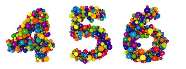 Wielokolorowe litery numer 4 5 6. zabawna ilustracja 3d. tekst błyszczący wielobarwny kulki dekoracyjne.