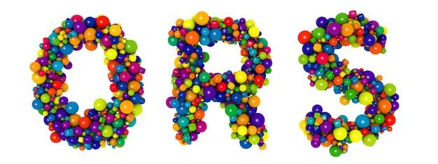 Wielokolorowe litery qr s. zabawna ilustracja 3d. tekst błyszczący wielobarwny kulki dekoracyjne.