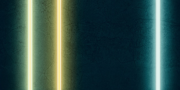 Wielokolorowe światło laserowe świecące na czarnym tle z kamienia ilustracja 3d