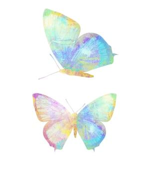 Wielokolorowy motyl akwarela. tropikalny owad. na białym tle