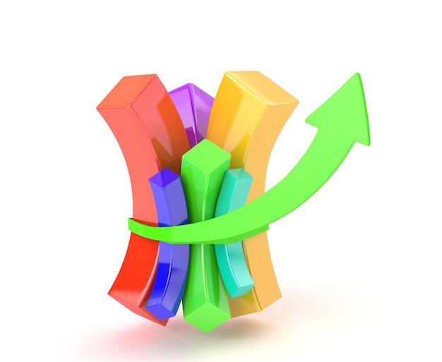 Wielokolorowy schemat dokręca się strzałką pokazującą wzrost finansowy
