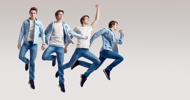 Wielokrotny portret skaczący przystojny mężczyzna hipster