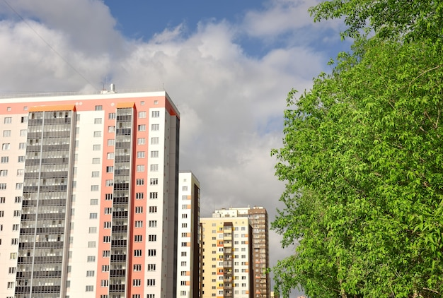 Wielopiętrowe nowe domy z rzędu zielone liście drzew błękitne niebo z białymi chmurami bez człowieka