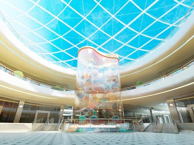 Wielopoziomowa hala megamall ze szklanym dachem i fontanną z ozdobną szklaną stelą z wielokolorowymi kulami. renderowania 3d.
