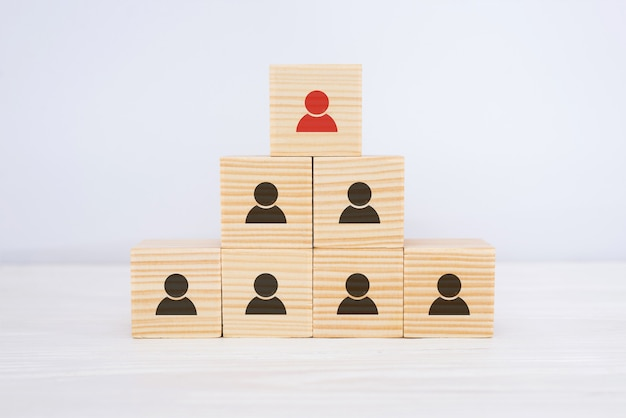 Wielopoziomowe drewniane kostki w formie hierarchii organizacyjnej z ikonami pracowników. koncepcja organizacji i hierarchii.
