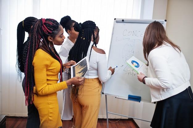 Wielorasowe koleżanki, załoga różnorodnych partnerek w biurze stojących w pobliżu flipchartu.