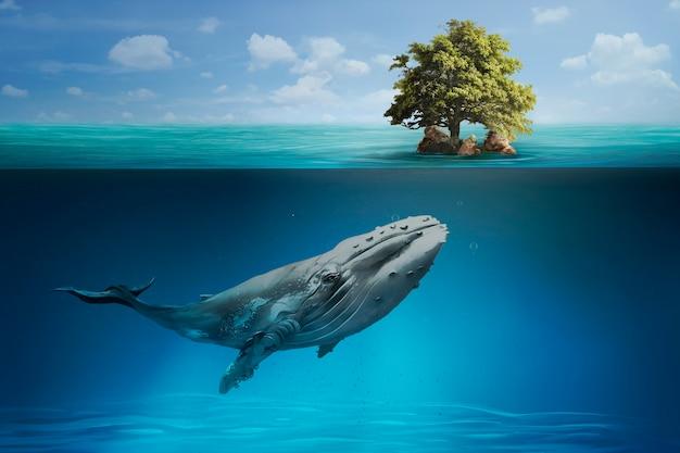 Wieloryb pływający w oceanie dla remiksu medialnego kampanii ocalenia planety