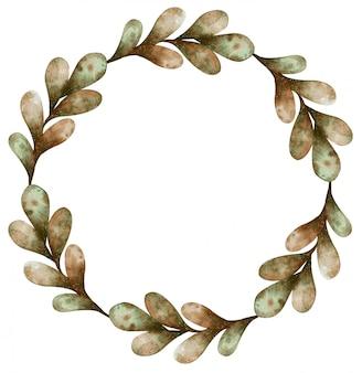 Wieniec akwarela jesień jasnozielone i brązowe liście na białym tle