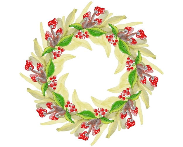 Wieniec bożonarodzeniowy z liśćmi, jagodami i grzybami. ręcznie rysowane stylu przypominającym akwarele