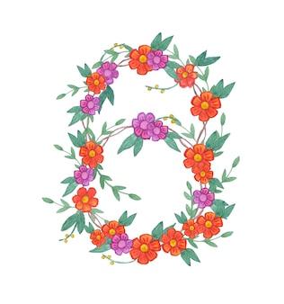 Wieniec kwiatów akwarela. na białym tle ilustracja na białym tle. koncepcja ekologiczna i naturalna.