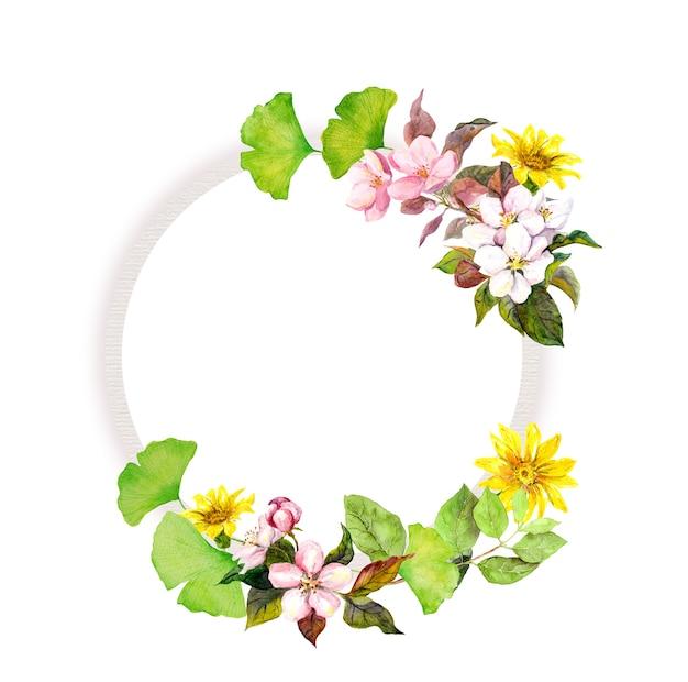 Wieniec kwiatowy z kwiatami. akwarela okrągła rama
