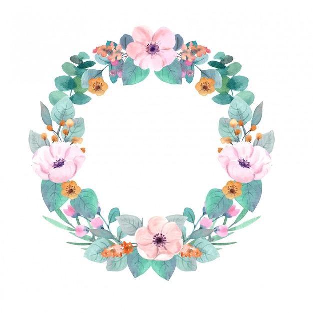 Wieniec kwiaty akwarela