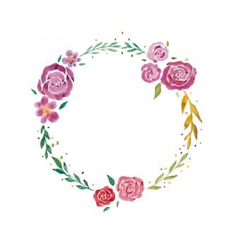 Wieniec słodkich kwiatów. farby akwarelowe na białym tle