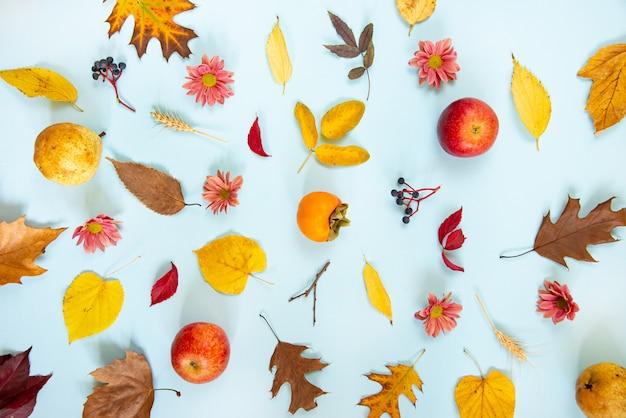 Wieniec z różnych kolorowych jesiennych owoców i liści na jasnoniebieskim tle.
