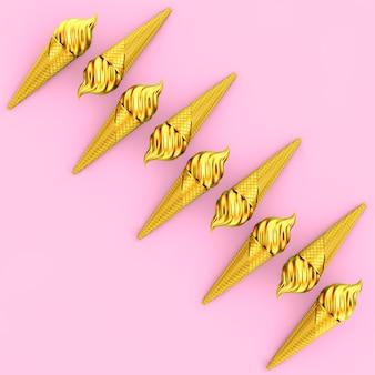 Wiersz gold soft serve ice cream w golden waffle crispy ice cream cone na różowym tle. renderowanie 3d