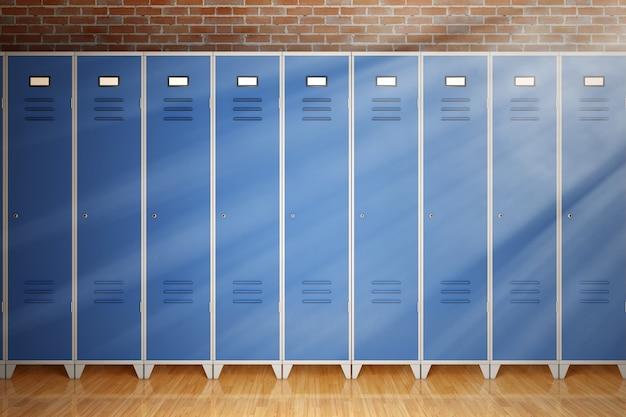 Wiersz metalowych szafek gimnastycznych przed ekstremalnym zbliżeniem ceglanego muru. renderowanie 3d