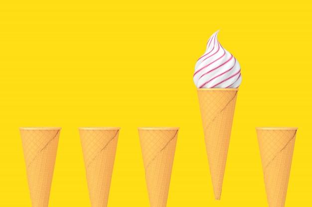 Wiersz puste wafel chrupiące szyszki lodów i jeden rożek z miękkimi lodami służyć na żółtym tle. renderowanie 3d