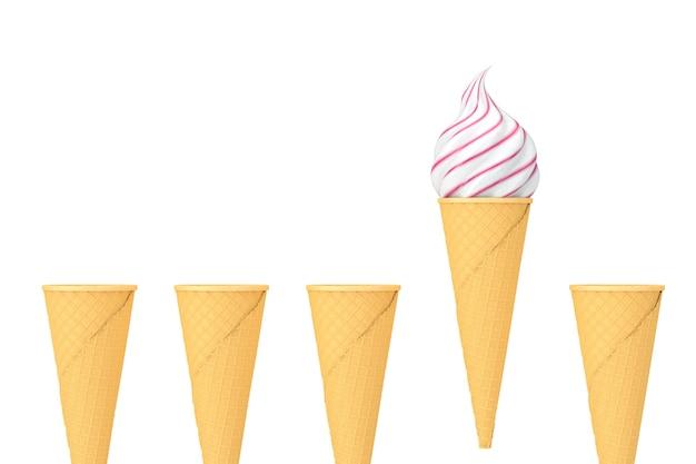 Wiersz puste wafel chrupiące szyszki lodów i jeden stożek z miękkim służyć lody na białym tle. renderowanie 3d