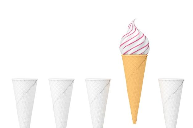Wiersz pusty biały wafel chrupiące szyszki lodów w stylu gliny i jeden stożek z miękkiej służyć lody na białym tle. renderowanie 3d
