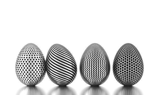 Wiersz srebrnych jaj na białym tle. koncepcja biznesowa i wielkanocna. renderowanie 3d