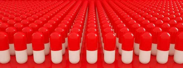 Wiersz tabletek na czerwonym tle, koncepcja opieki zdrowotnej, renderowanie 3d, obraz panoramiczny