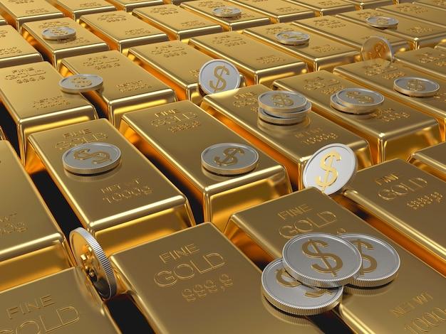 Wiersz złotych sztabek i monet dolarowych.