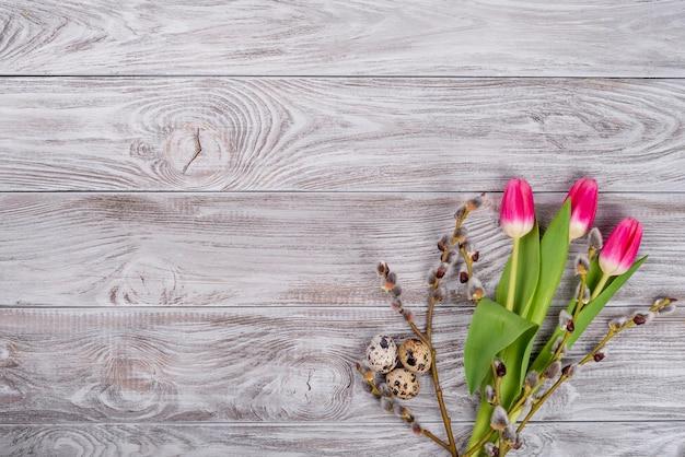 Wierzba, jajka przepiórcze, żółte kwiaty tulipanów na jasnoszarym betonowym tle. pojęcie święta wiosny i wielkanocy. płaski świeckich, widok z góry, kopia przestrzeń.