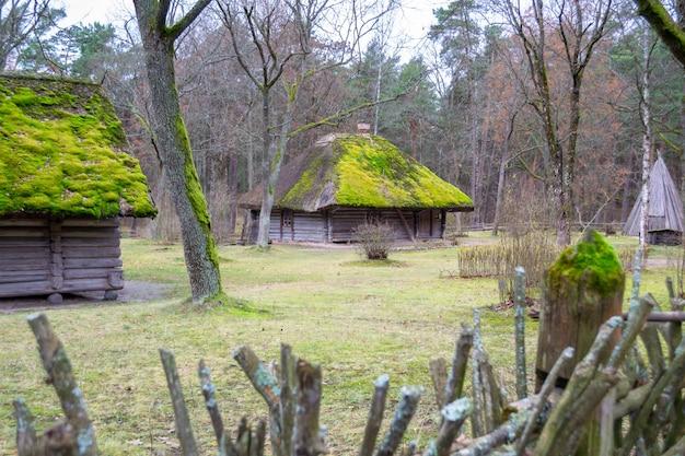 Wieś w muzeum. stare drewniane domy. widok z oknem, drzwiami przednimi i mchem na dachu.