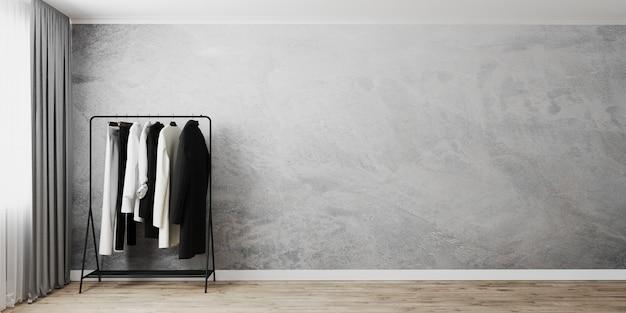 Wieszak na ubrania z szarą pustą ścianą w pobliżu okna z szarą zasłoną, stojak na ubrania, renderowanie 3d