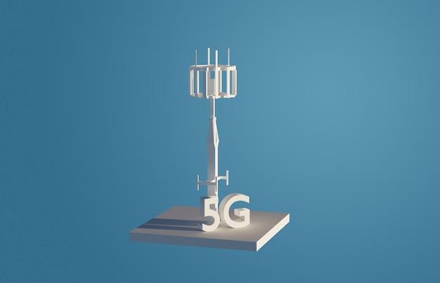 Wieża 5g. komunikacja bezprzewodowa. transmisja internetowa. renderowania 3d, low poly
