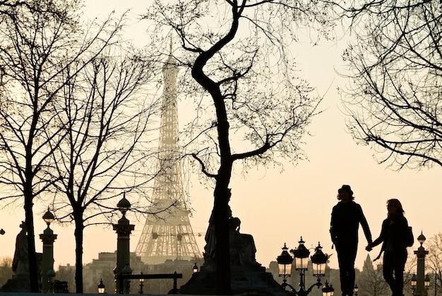 Wieża eiffla w mglisty zimowy dzień