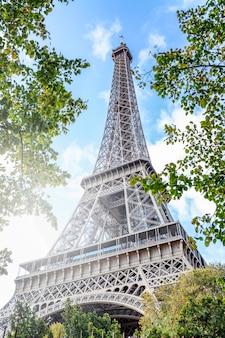 Wieża eiffla w zieleni drzew z rannym światłem słonecznym. piękny krajobraz. pocztówka. pionowy.