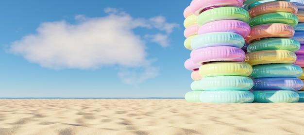Wieża Nadmuchiwanych Pierścieni Na Plaży Premium Zdjęcia