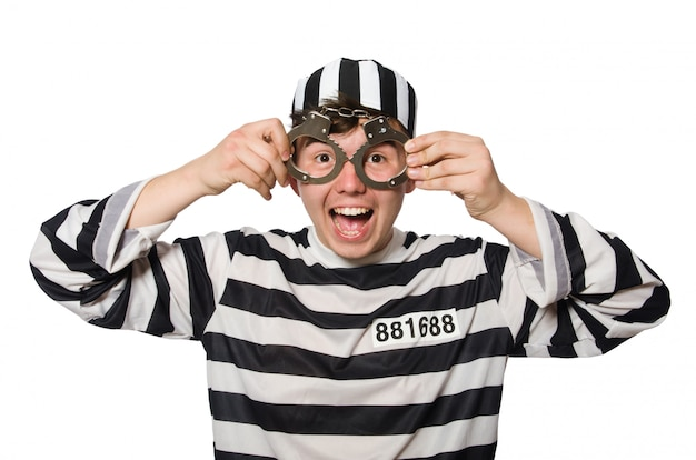 Więzień odizolowywający na białym tle