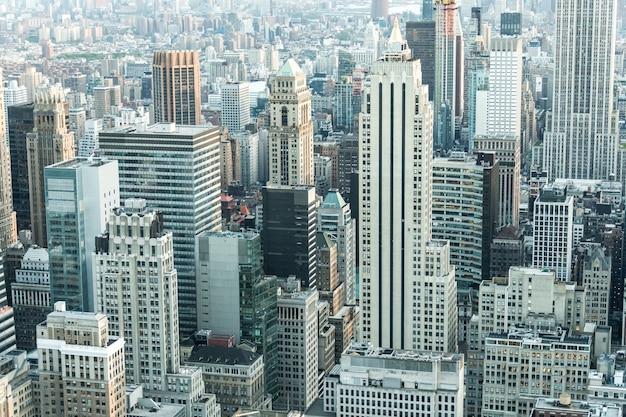 Wieżowce nowego jorku w centrum manhattanu z lotu ptaka panoramy
