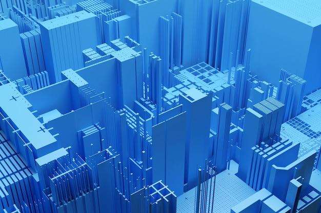 Wieżowce w centrum dzielnicy biznesowej. kwadratowe kształty kompozycji geometrycznej. streszczenie generyczne żółte miasto z ilustracji nowoczesnych biurowców