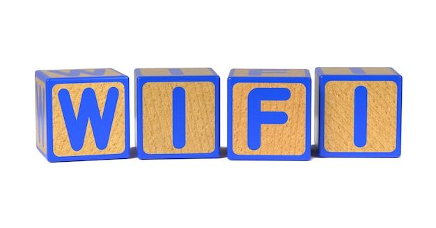 Wifi na bloku kolorowy drewniany alfabet dla dzieci na białym tle.
