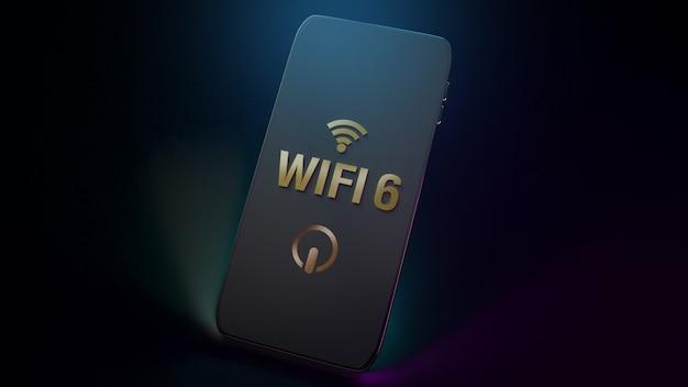 Wifi6 słowo na mądrze telefonu renderingu 3d dla zawartości sieci.
