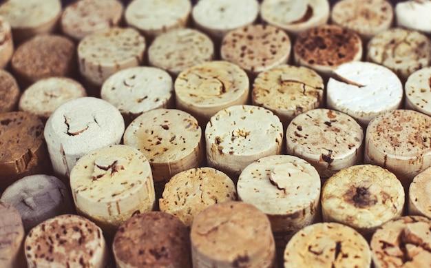 Wino korki tło z bliska, makro. produkcja wina.