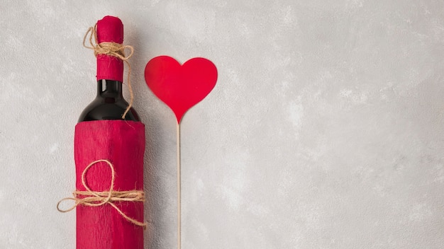 Wino z sercem podpisuje i kopiuje przestrzeń