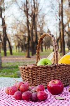 Winogrona na obrusie obok kosz piknikowy