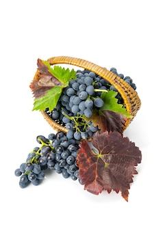 Winogrona w drewnianym koszu.