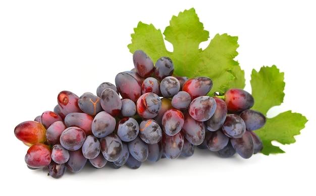 Winogrona z liśćmi na białym tle