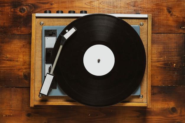 Winylowy gramofon winylowy odtwarzacz na drewno