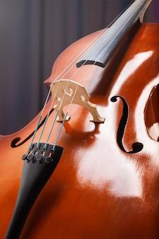 Wiolonczela lub skrzypce z bliska struny