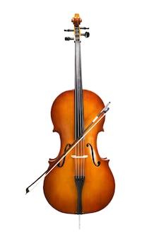 Wiolonczela na białym tle z muzyką symfoniczną