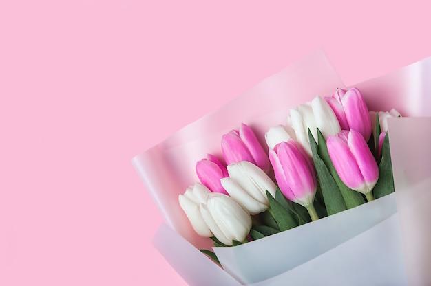 Wiosenna karta w tle różowe i białe tulipany w pastelowym różowym tle zbliżenie świeże kwiaty na poziomą tapetę kwiatową lub pocztówkę wielkanocny baner z życzeniami kopiowanie miejsca