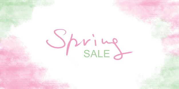 Wiosenna wyprzedaż transparent na białym tle z różową zieloną ramką akwarelową