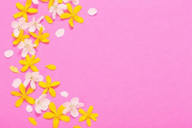 Wiosenne białe i żółte kwiaty na różowej powierzchni papieru