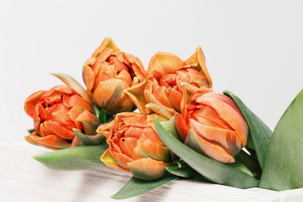 Wiosenne delikatne kwiaty w kolorze pomarańczowym, bukiet tulipanów na drewnianym stole. naturalne tło kwieciste z miejsca kopiowania. widok z góry. żywe kolory.
